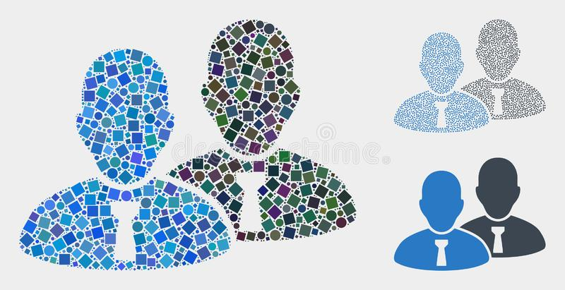 Managers Icon Mosaics of Squares and Circles. Collage Managers icon organized from circle and square elements in different sizes, positions and proportions royalty free illustration