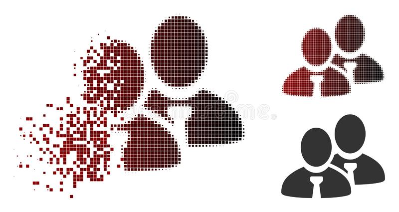 Shredded Dot Halftone Managers Icon. Managers icon in sparkle, dotted halftone and undamaged entire versions. Particles are combined into vector dissipated stock illustration