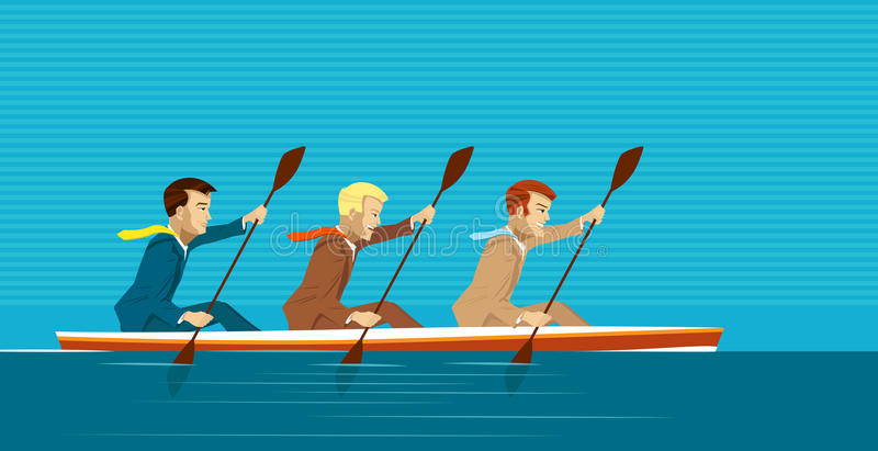 Managers and kayak. Team of managers is going to reach success royalty free illustration
