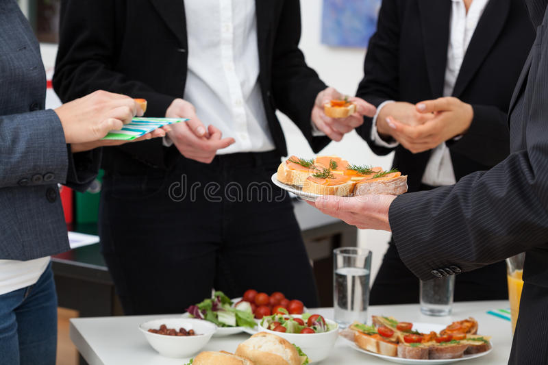 Managers meeting on breakfast royalty free stock photography