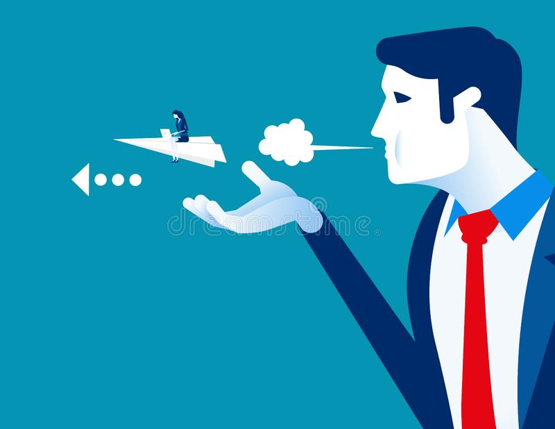 Managers push their employee to success. Concept business vector, Blown away, Helping, Paper plan royalty free illustration