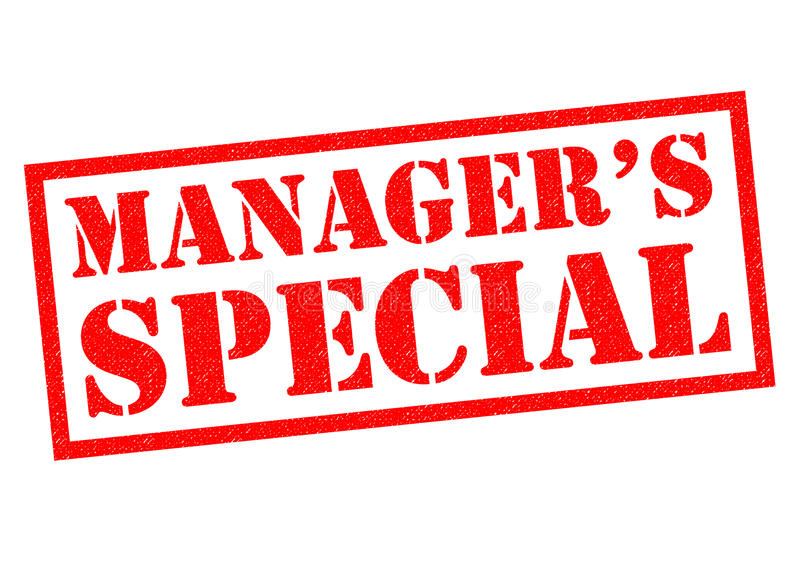 MANAGERS SPECIAL. Red Rubber Stamp over a white background stock illustration