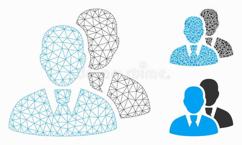 Managers Vector Mesh Carcass Model and Triangle Mosaic Icon. Mesh managers model with triangle mosaic icon. Wire carcass polygonal mesh of managers. Vector royalty free illustration