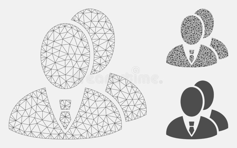 Managers Vector Mesh Wire Frame Model and Triangle Mosaic Icon. Mesh managers model with triangle mosaic icon. Wire carcass polygonal mesh of managers. Vector vector illustration
