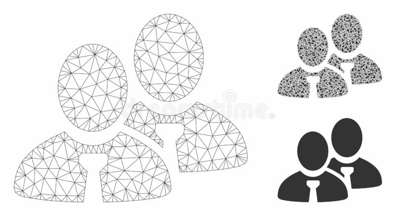 Managers Vector Mesh Wire Frame Model and Triangle Mosaic Icon. Mesh managers model with triangle mosaic icon. Wire frame polygonal mesh of managers. Vector vector illustration