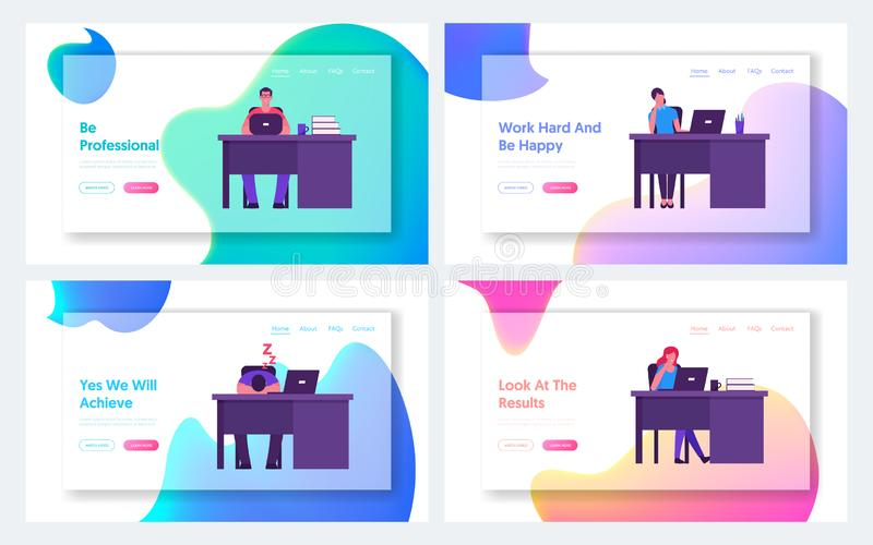 Managers at Workplace in Office or Coworking Area Website Landing Page Set. Business Men and Women Sitting at Desks. Working, Relaxing and Boring Web Page royalty free illustration