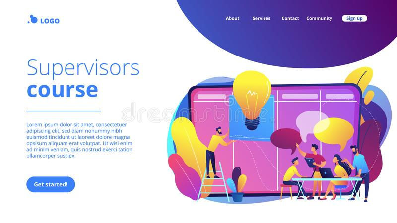 Managers workshop concept landing page. Managers at workshop training manager skills and brainstorming at board. Managers workshop, supervisors course royalty free illustration