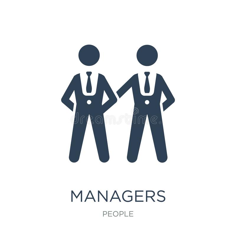 managerspictogram in in ontwerpstijl managerspictogram op witte achtergrond wordt geïsoleerd die eenvoudige en moderne vlakte van royalty-vrije illustratie