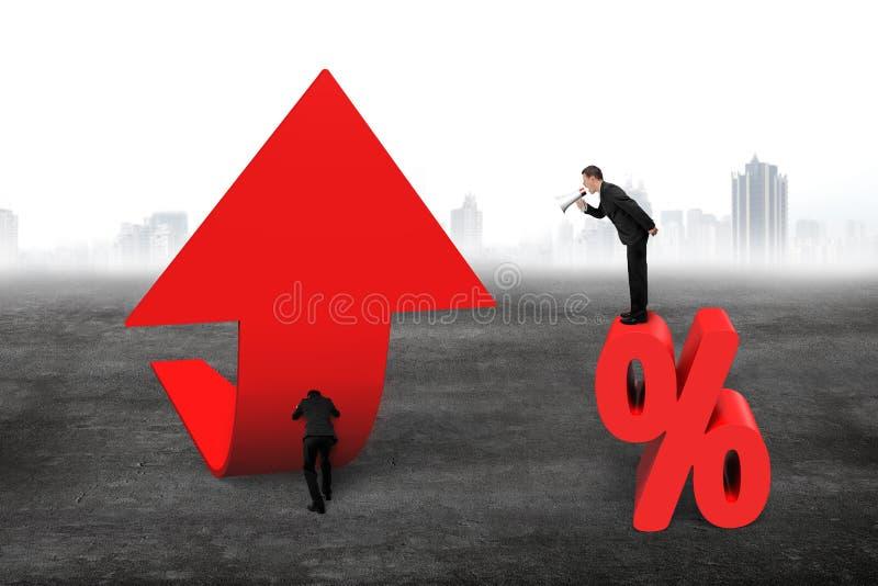 Managerspreker het schreeuwen pijl stijgend p van de zakenman de duwende tendens stock afbeeldingen