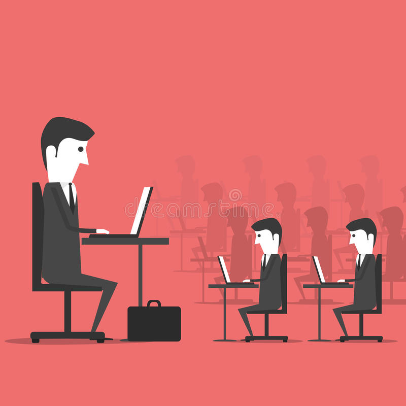 Managing sitting in the office with employees stock illustration