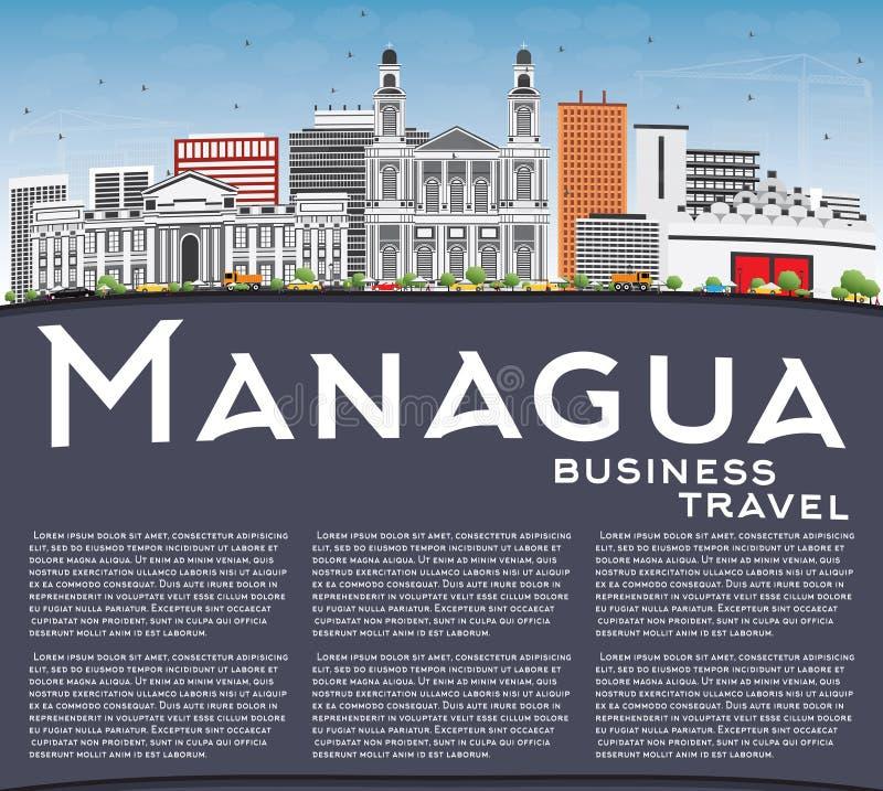 Managua linia horyzontu z Szarą budynków, niebieskiego nieba i kopii przestrzenią, ilustracji