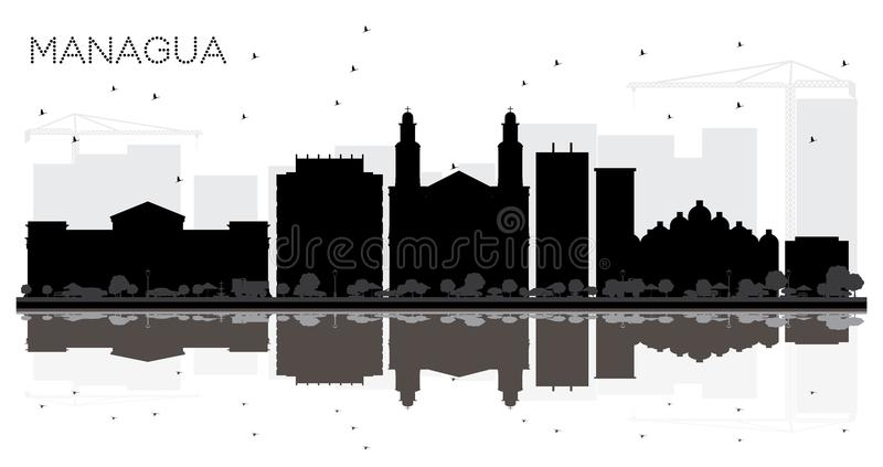 Managua Nicaragua City Skyline Black and White Silhouette with R vector illustration