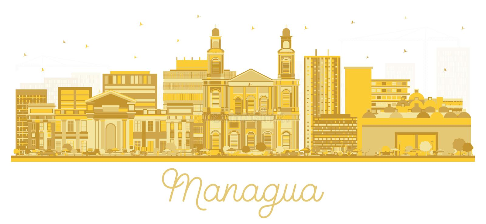 Managua Nicaragua City Skyline Silhouette with Golden Buildings Isolated on White vector illustration