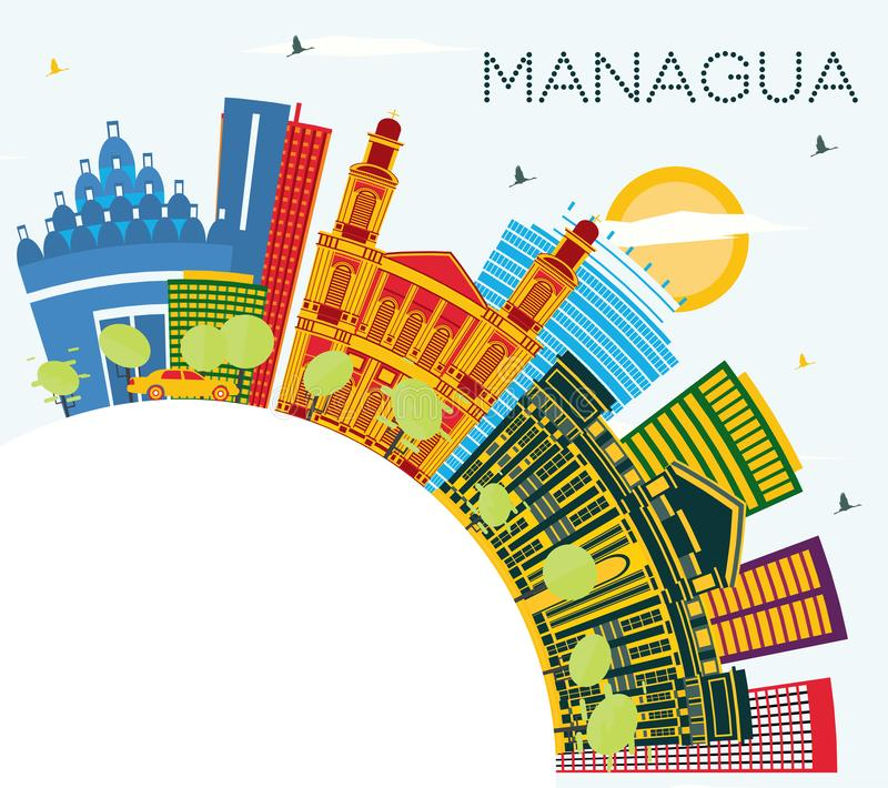 Managua Nicaragua Skyline with Color Buildings, Blue Sky and Copy Space vector illustration