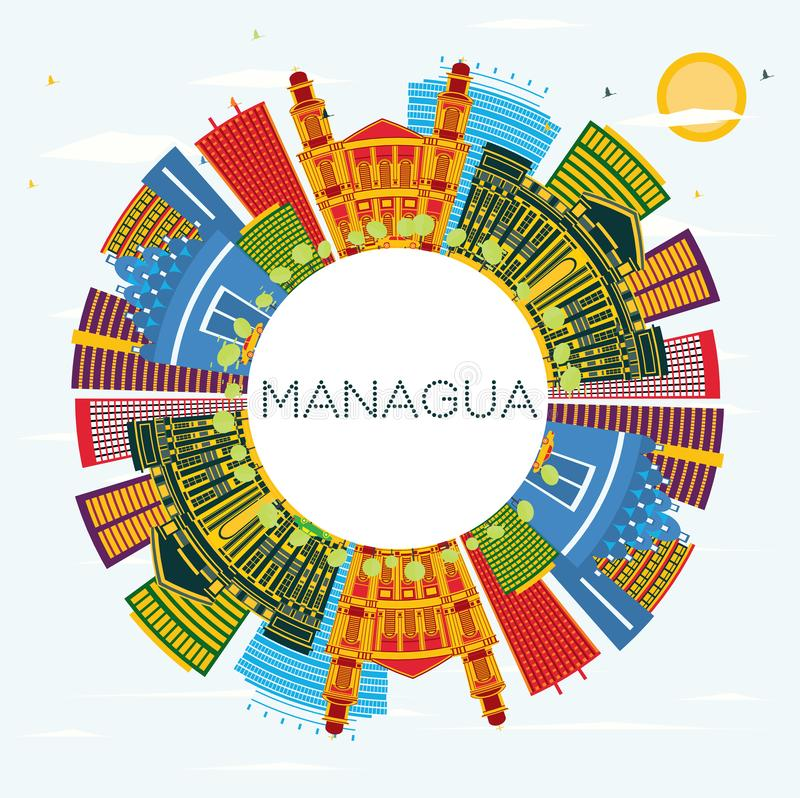 Managua Nicaragua Skyline with Color Buildings, Blue Sky and Copy Space royalty free illustration