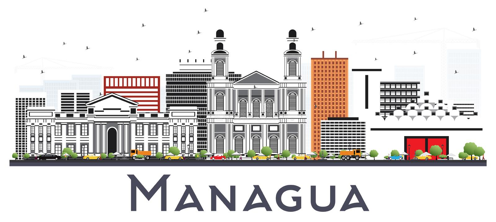 Managua Nicaragua Skyline with Gray Buildings Isolated on White. royalty free illustration