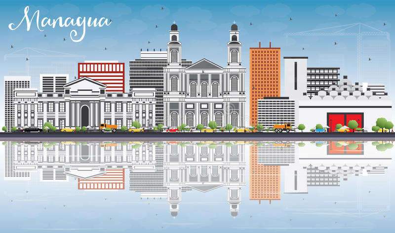 Managua Skyline with Gray Buildings, Blue Sky and Reflections. vector illustration
