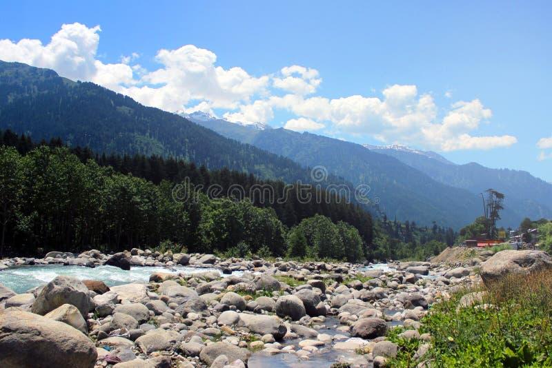 Manali一个美好的风景的情景  库存照片