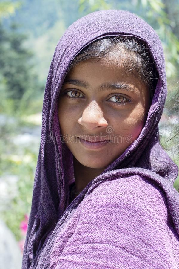 Gypsy young girl on the local market in Manali, Himachal Pradesh, India royalty free stock image