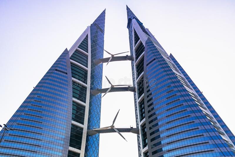 MANAMA, Bahrain - December 19, 2018: skyscraper building of the Bahrain World Trade Center in the downtown royalty free stock images