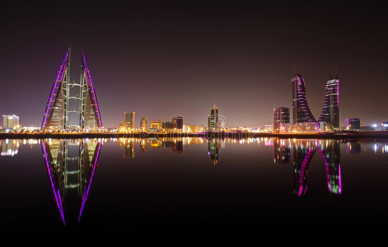 A beautiful view of Bahrain skyline during night stock photography