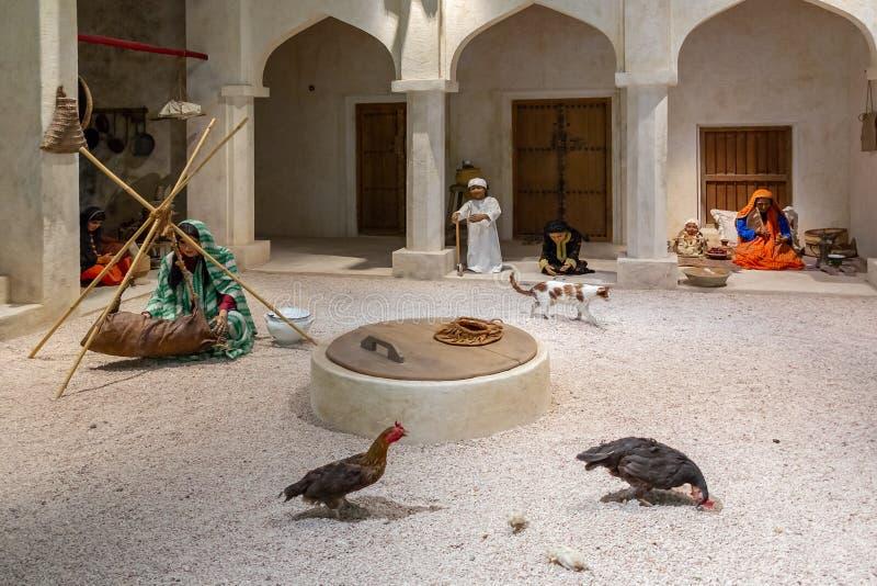 MANAMA, BAHREIN - 19 DE DICIEMBRE DE 2018: exposición en el Museo Nacional de Bahrein que muestra el interior de un tradicional imagen de archivo