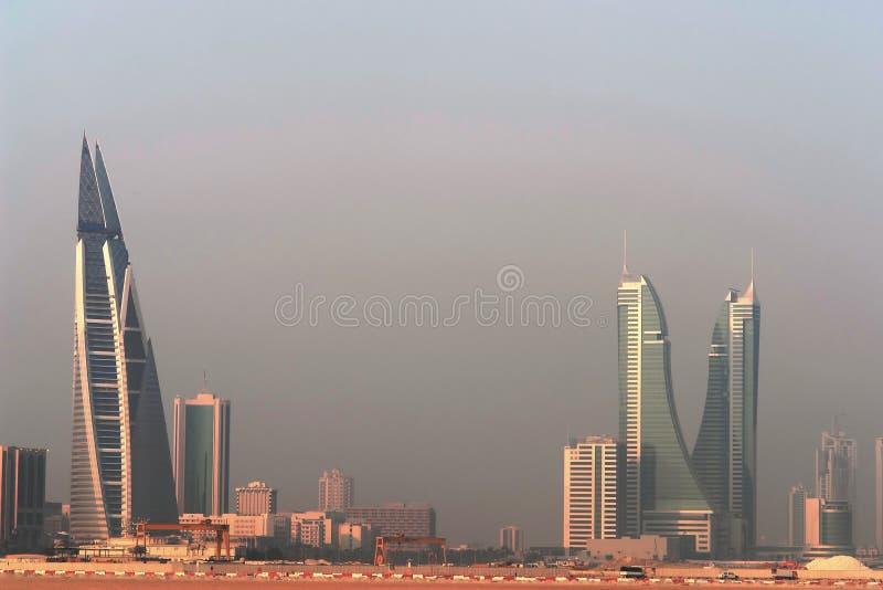 Manama city panorama - Bahrain. Manama scene from Shaikh Isa bin Salman bridge that connects Manama and Muharraq stock photography