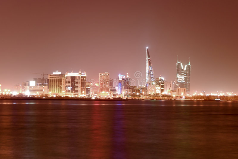 Manama Cityscape. Manama is the capital city of Bahrain. This is where all the government offices, businesses, entertainment, apartments and shopping are located stock images