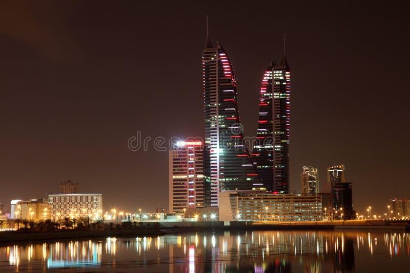 Manama at night. Bahrain. Skyline of Manama at night. Bahrain, Middle East stock image