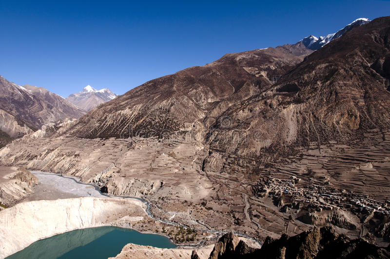 Manang u. See Gangapurna - Nepal stockfotos