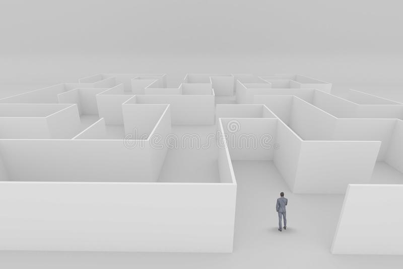 Mananseende i en labyrint arkivfoto