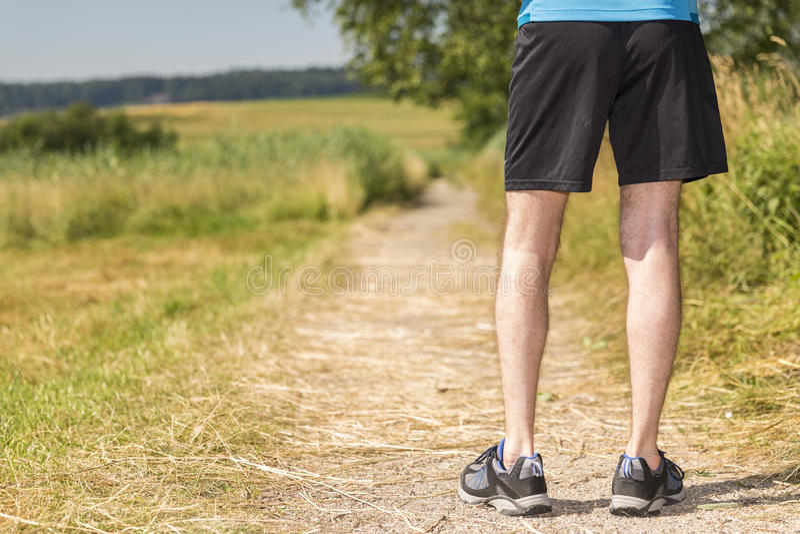 Mananseende i natur, innan att jogga arkivfoton