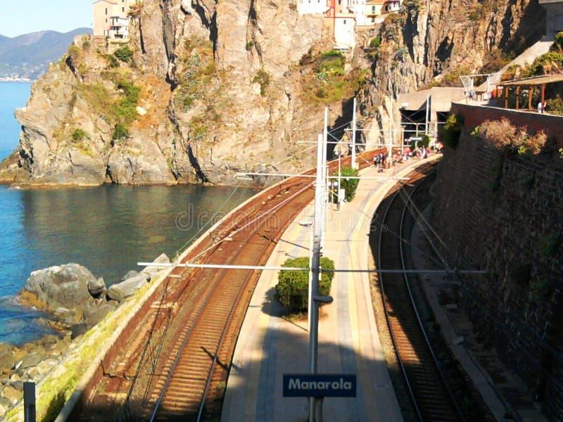 Manarola海火车站 图库摄影