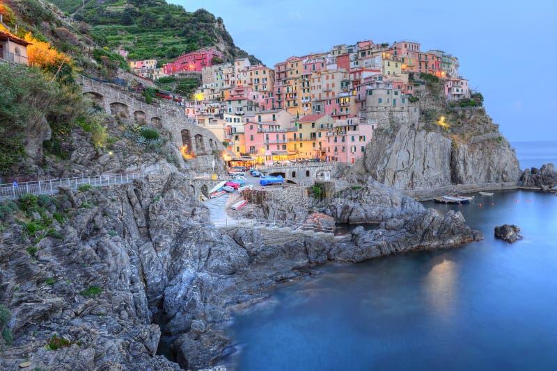 Manarola at blue hour, Cinque Terre, Italy stock images