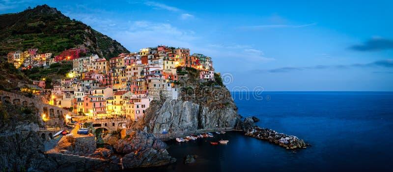 Manarola, Cinque Terre (Italian Riviera, Liguria). High definition panorama at twilight stock images