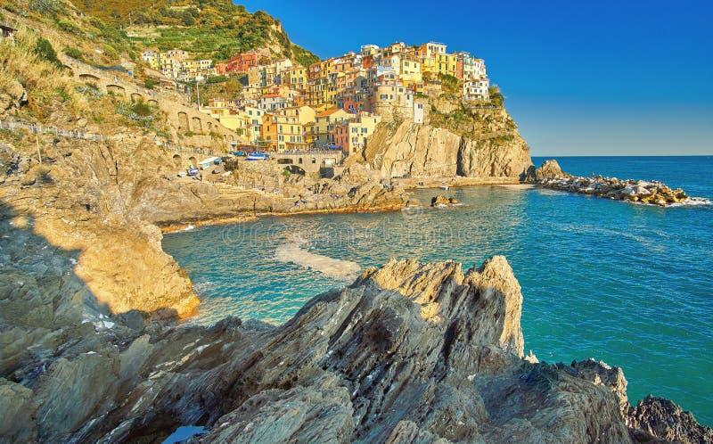 Manarola Cinque Terre Italy Coast image stock