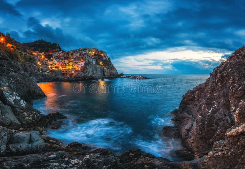 Manarola, Cinque Terre, Italy. Manarola village during sunset royalty free stock photography