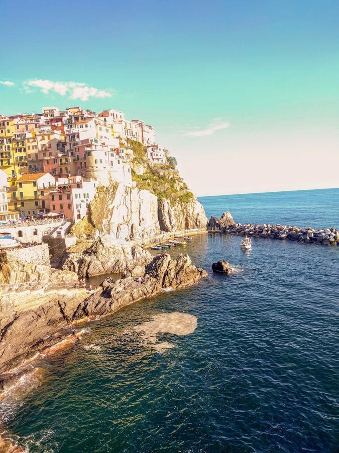 Manarola - Cinque Terre - 1 May 2019 - Overview of the port of Manarolo royalty free stock photography
