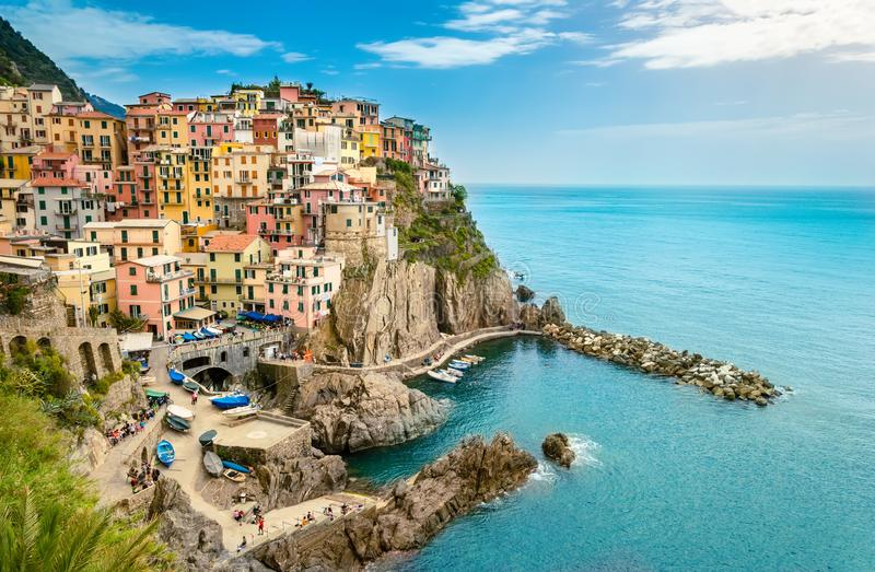 Manarola, Cinque Terre - romantic village with colorful houses on cliff over sea in Cinque Terre National Park royalty free stock photo