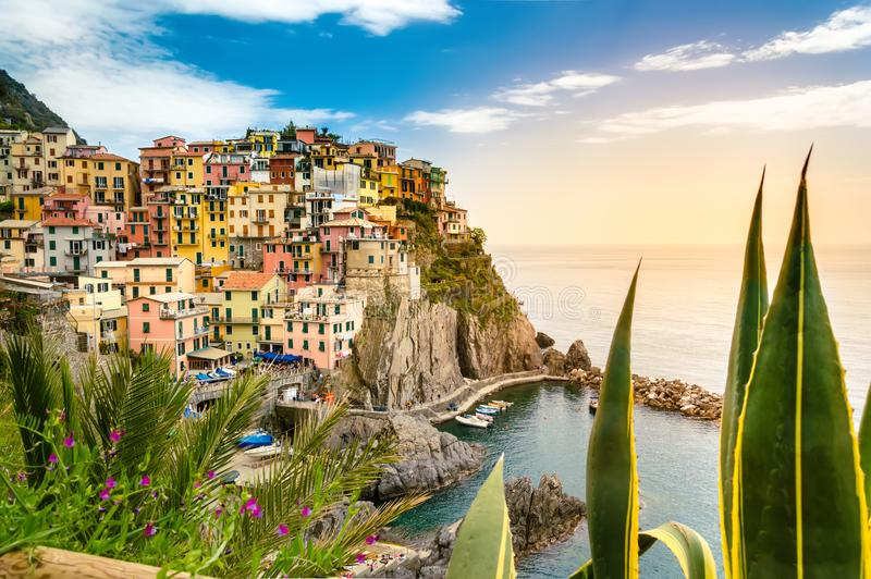 Manarola, Cinque Terre - romantic village with colorful houses on cliff over sea in Cinque Terre National Park royalty free stock image