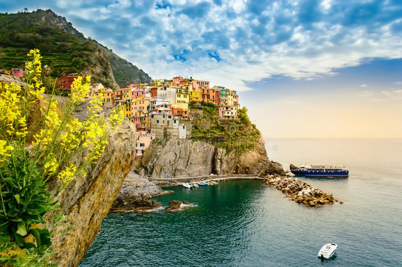 Manarola, Cinque Terre - romantic village with colorful houses on cliff over sea in Cinque Terre National Park royalty free stock photography