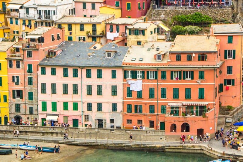 Manarola, Cinque Terre Włochy, Maj, - 28, 2018: Piękny miasteczko Manarola w Cinque Terre parku narodowym Włoszczyzna kolorowa obraz stock