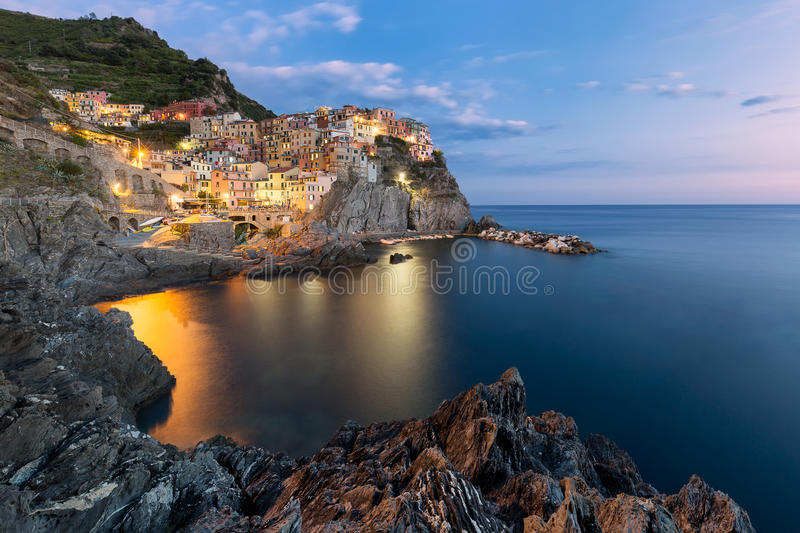 Manarola fishing village, seascape in Five lands, Cinque Terre National Park, Liguria, Italy. stock image