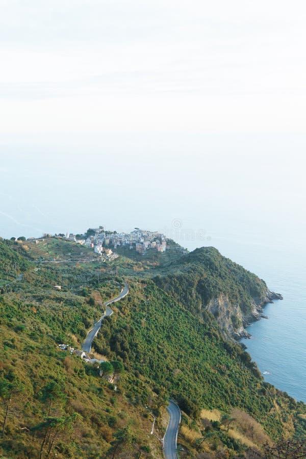 Manarola, italiano Riviera, Liguria, Italia del alza del invierno fotografía de archivo