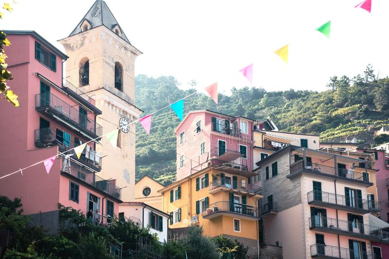 Manarola, Italy, La Spezia Province, Liguria Regione, 07 august, 2018: Colored houses on the streets of the fhishing village stock photos