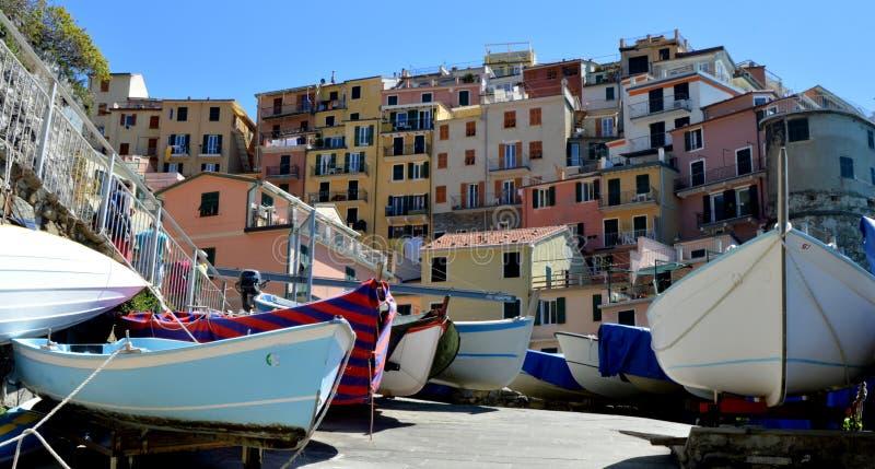 Manarola. (Manaea in the local dialect) is a small town, of the comune (municipality) of Riomaggiore, in the province of La Spezia, Liguria, northern Italy. It stock image