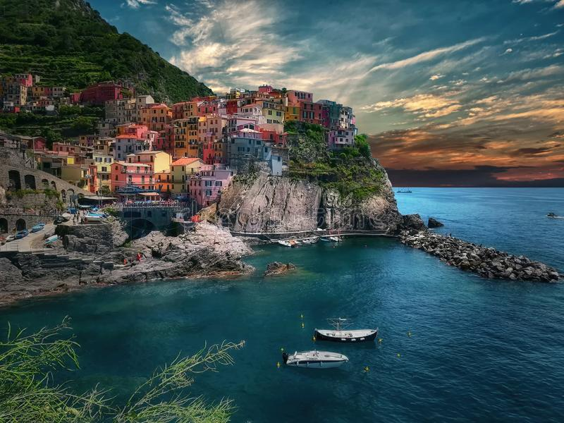 Manarola, one of the five villages on the Ligurian coast. Manarola, is one of the five villages on the Ligurian coast. An incredible place, energizing and very royalty free stock images