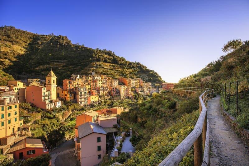 Manarola wioska, trekking ślad Cinque Terre, Włochy obraz royalty free