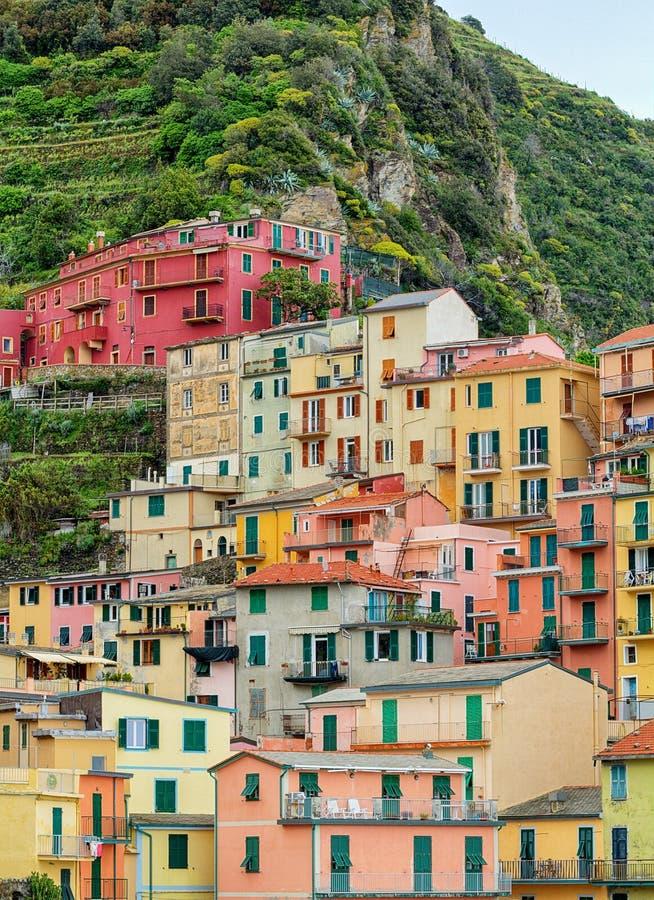 Manaroladorp in Cinque Terre, Italië Beeld HDR royalty-vrije stock afbeelding