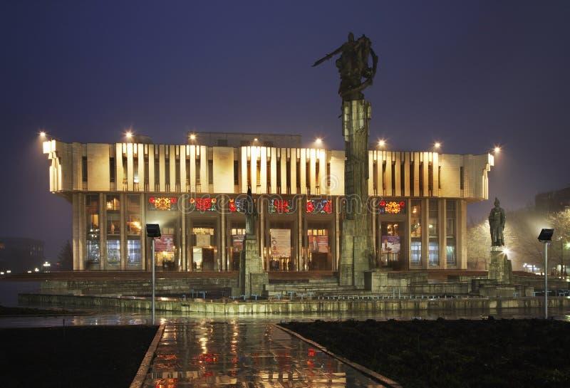 Manas, rzeźbiony filharmoniczny w Bishkek i kompleks Kirgistan fotografia stock